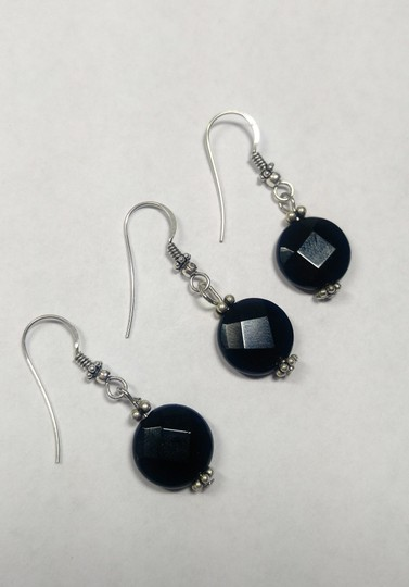 Other Sterling Silver & Black Onyx Gemstone Earrings A361 Image 2