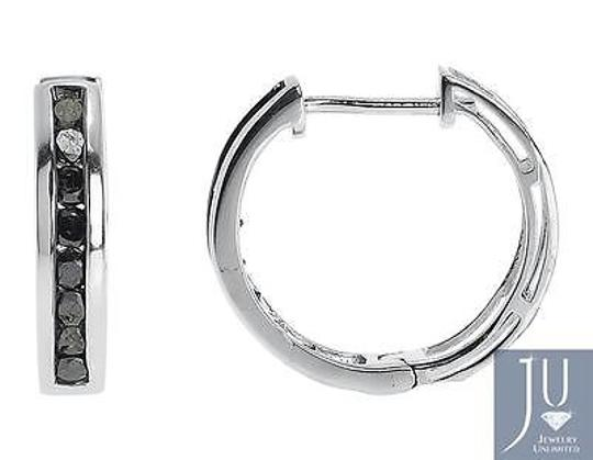 Jewelry Unlimited White,Gold,Finish,Black,Channel,Diamonds,15mm,Round,Hoop,Huggie,Earrings,0.50ct