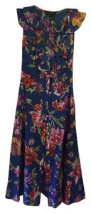 Ralph Lauren short dress Cobalt blue with multicolor floral on Tradesy