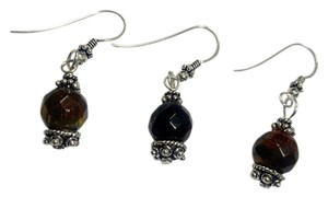 Sterling Silver & Tiger's Eye Gemstone Earrings Pair With Spare E801