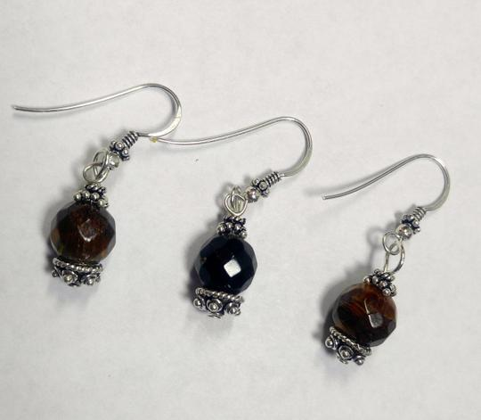 Other Sterling Silver & Tiger's Eye Gemstone Earrings Pair With Spare E801 Image 2