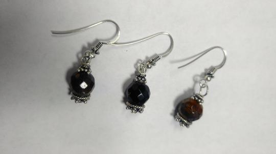 Other Sterling Silver & Tiger's Eye Gemstone Earrings Pair With Spare E801 Image 3