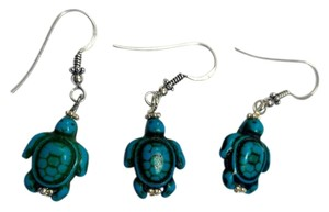 Sterling Silver & Turquoise Gemstone Earrings Set Pair W/ Spare E802