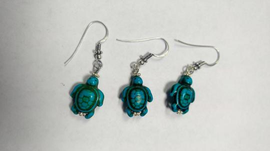 Other Sterling Silver & Turquoise Gemstone Earrings Set Pair W/ Spare E802 Image 1