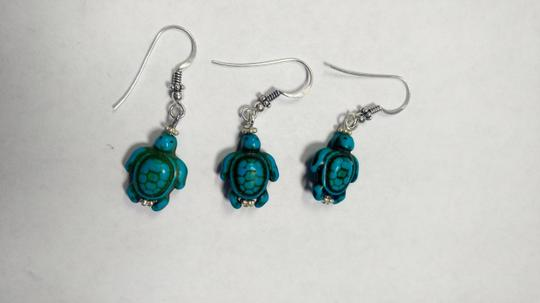 Other Sterling Silver & Turquoise Gemstone Earrings Set Pair W/ Spare E802 Image 2