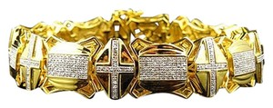 Jewelry Unlimited Mens,Genuine,Diamond,Cross,Style,Link,Bracelet,In,Yellow,Gold,Finish,3.5ct