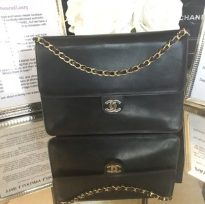 Chanel Vintage Double Flap Classic Flap Lambskin Shoulder Bag