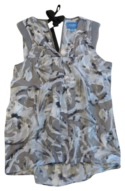 Preload https://img-static.tradesy.com/item/18776050/simply-vera-vera-wang-grey-and-pale-blue-print-sleeveless-with-cute-ribbon-tie-in-back-blouse-size-6-0-1-650-650.jpg