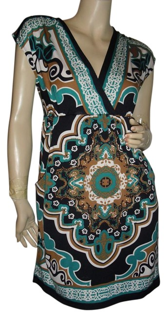 Preload https://img-static.tradesy.com/item/18776200/bailey-blue-turquoise-brown-gold-baroque-print-black-border-print-knee-length-short-casual-dress-siz-0-1-650-650.jpg