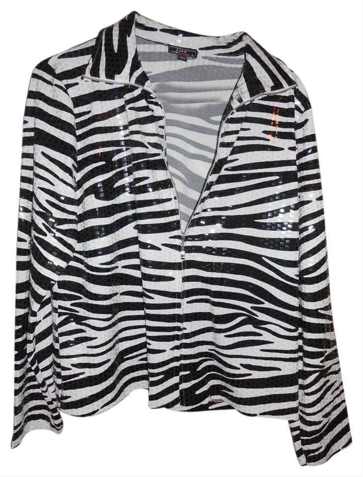 4fedab81 Lisa International Black and White Tiger Print Jacket Size 12 (L ...