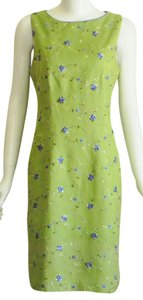 Coldwater Creek short dress Green Linen Embroidered Floral on Tradesy
