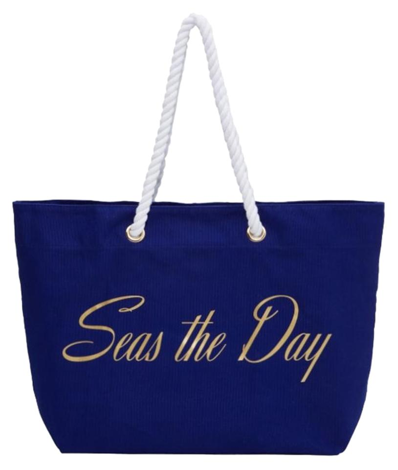 Trina Turk Navy Gold Beach Bag