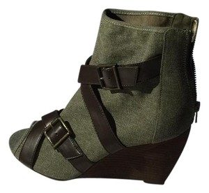 MIA Denim Sandal Green Wedges