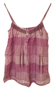 Aerie Plaid Striped Buttons Top purple