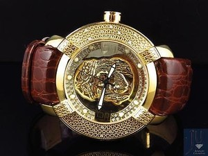 Aqua Master Mens Aqua Master Joe Rodeo Jojo 46mm Jesus Face Diamond Burgundy Band W96 Watch