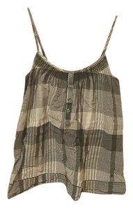 Aerie Plaid Striped White Casual Top black