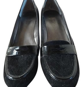 Franco Sarto Suede Patent Leather Professional Low-heel black Pumps