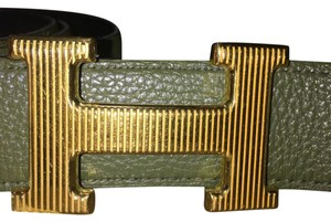 Hermès Hermes Swift and Epsom Grooved Finish Gold H Buckle Belt