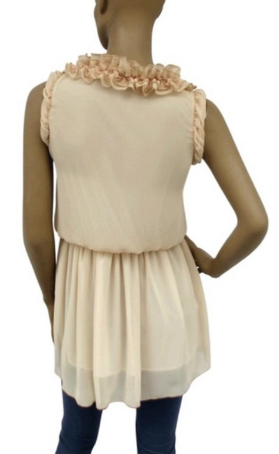 Other Sleeveless Chiffon Layered Romantic Spring Top Beige Image 2