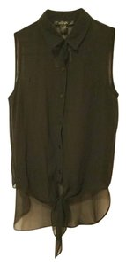 Mandee Casual Sheer Tie Button Down Shirt black