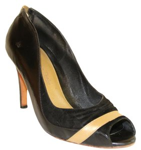 Marcello Toshi Open Heel Suede Gold Leather Vintage Black Pumps