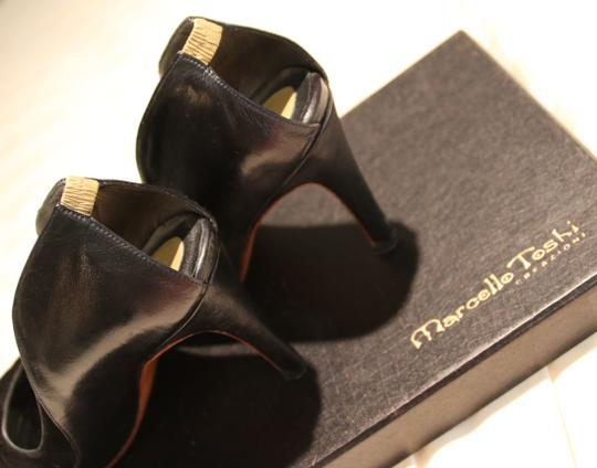 Marcello Toshi Open Heel Suede Gold Leather Vintage Black Pumps Image 2