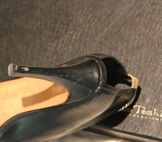 Marcello Toshi Open Heel Suede Gold Leather Vintage Black Pumps Image 3