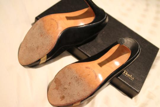 Marcello Toshi Open Heel Suede Gold Leather Vintage Black Pumps Image 4