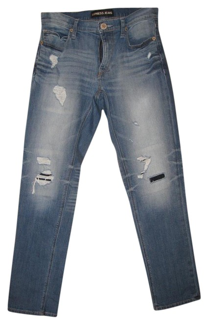 Preload https://img-static.tradesy.com/item/18778570/express-dark-blue-distressed-girlfriend-relaxed-fit-jeans-size-28-4-s-0-1-650-650.jpg
