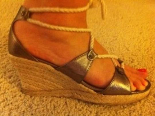J.Crew Nautical Espadrille Metallic Gold Wedges