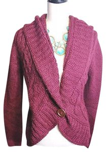 Love by Design Burgundy Cocoon Red Knit Button Cardigan
