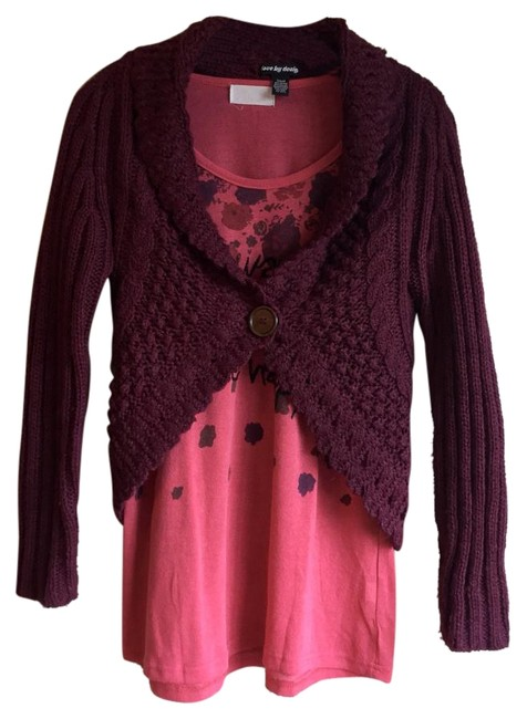 Love by Design Burgundy Cocoon Red Knit Button Cardigan Image 1