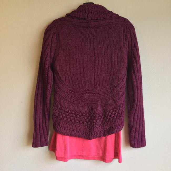 Love by Design Burgundy Cocoon Red Knit Button Cardigan Image 2