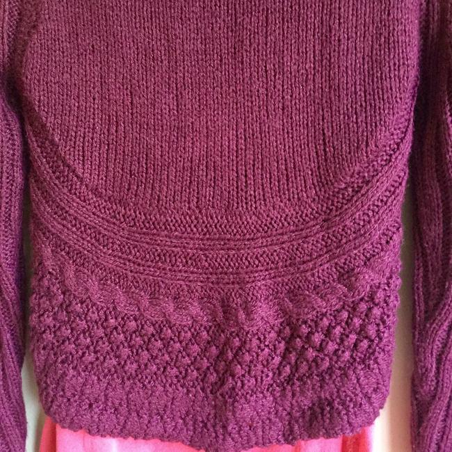 Love by Design Burgundy Cocoon Red Knit Button Cardigan Image 3
