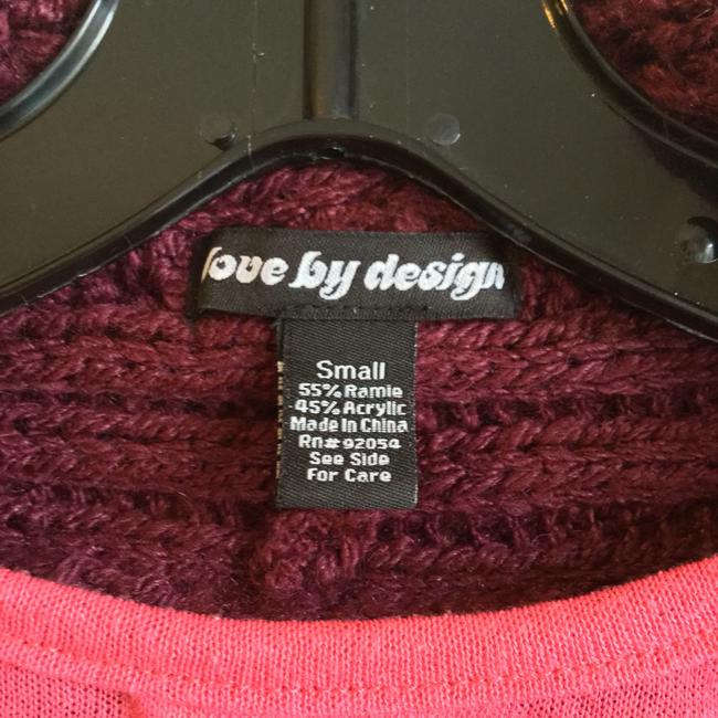 Love by Design Burgundy Cocoon Red Knit Button Cardigan Image 4