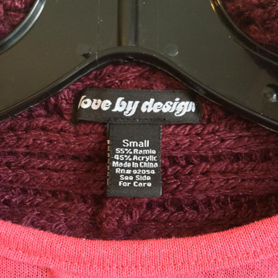 Love by Design Purple Burgundy Cocoon Sweater Button Knit Cardigan ... 94013a7a9