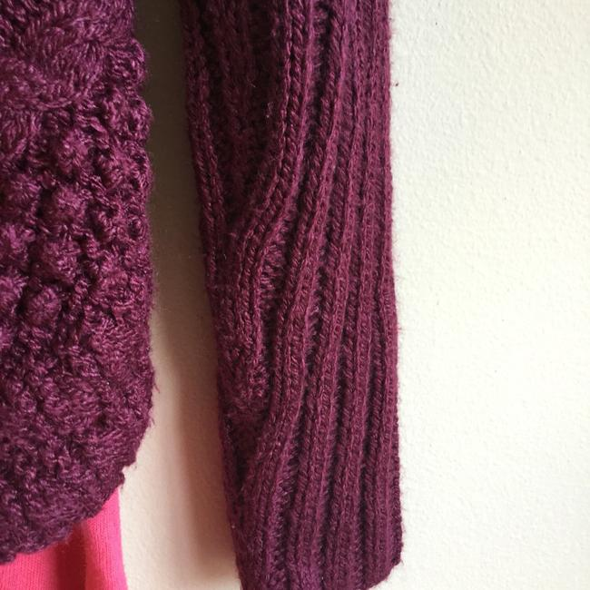 Love by Design Burgundy Cocoon Red Knit Button Cardigan Image 5