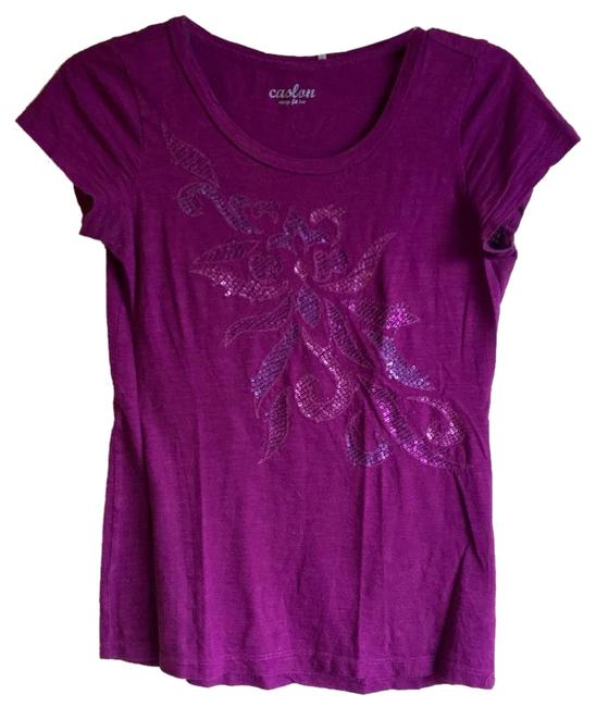 Preload https://img-static.tradesy.com/item/18778666/caslon-purple-sequin-floral-pattern-easy-fit-tee-shirt-size-2-xs-0-1-650-650.jpg