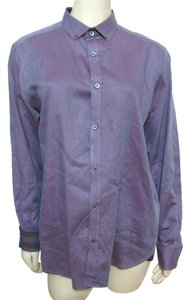 Ted Baker Jacquard Shirt Buttoned Blouse S 4 6 Long Sleeve London Designer Button Down Shirt purple