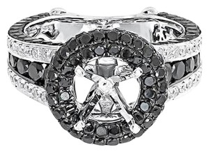 14k White Gold Black Diamond Solitaire Semi Mount Engagement Fashion Ring 3.71ct
