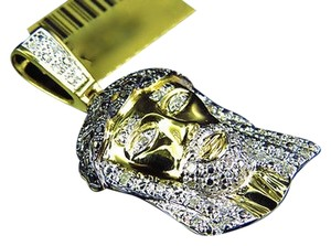 Jewelry Unlimited 10k,Yellow,Gold,Authentic,Natural,Diamond,Jesus,Piece,Pendant,Charm,1.5,.50,Ct