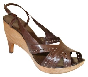 CoSTUME NATIONAL Wooden Sole Leather Platform Brown Mules