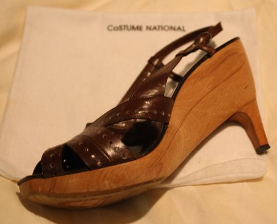 CoSTUME NATIONAL Wooden Sole Leather Platform Brown Mules Image 1