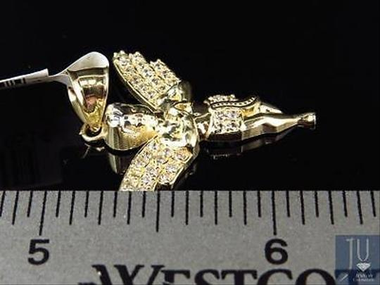 Other Mens Ladies Solid 10k Yellow Simulated Diamond 3d Angel Pendant Charm Inches