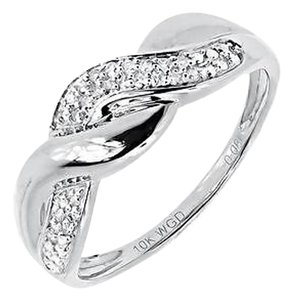 10k White Gold Ladies Round Diamond Wave Swirl Fashion Band Ring 0.10 Ct