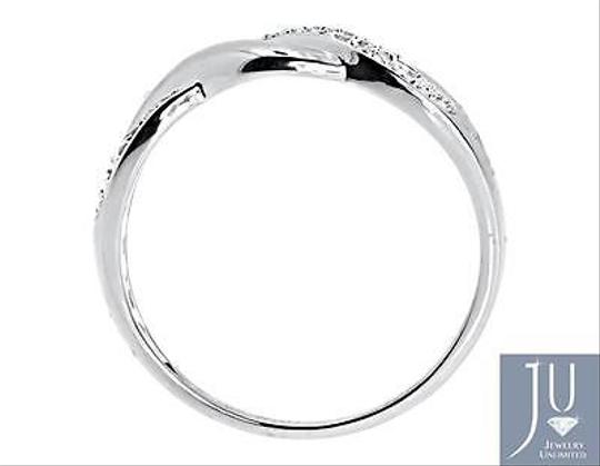 Other 10k White Gold Ladies Round Diamond Wave Swirl Fashion Band Ring 0.10 Ct