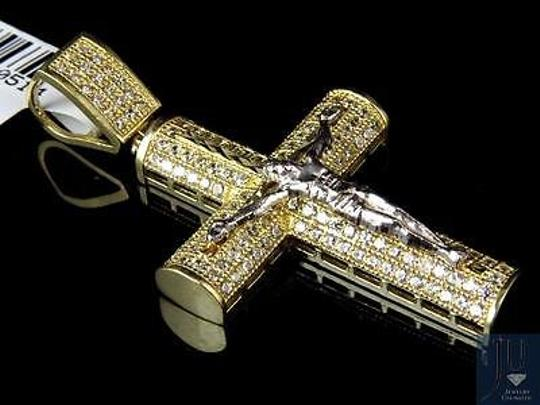 Other Mens Solid 10k Gold Two Tone Aaa Grade Simulated Diamond Crucifix Cross Pendant