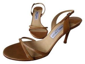 Jimmy Choo Leather Summer Color Strappy Heels Camel Color Nude/Lt Brown Sandals
