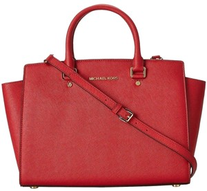 Michael Kors Saffiano Leather Mk Large Selma Top Zip Crossbody Strap Satchel in RED/Gold Tone Hardware