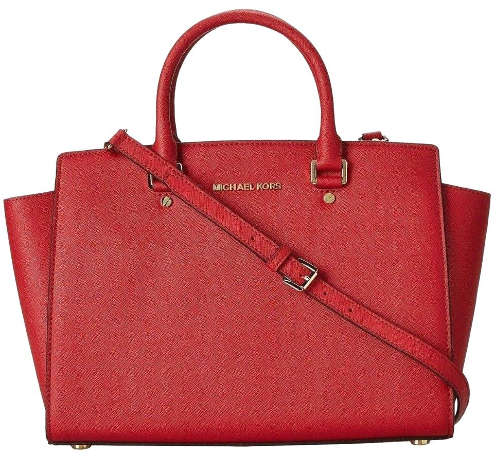 d40405a2b889 Michael Kors Saffiano Leather Mk Large Selma Top Zip Crossbody Strap Satchel  in RED Gold ...